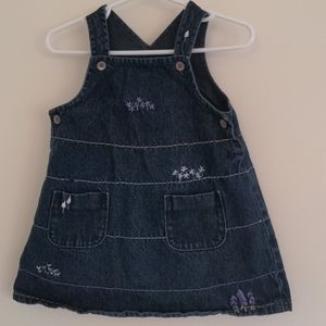 Denim dress with embroidered flowers